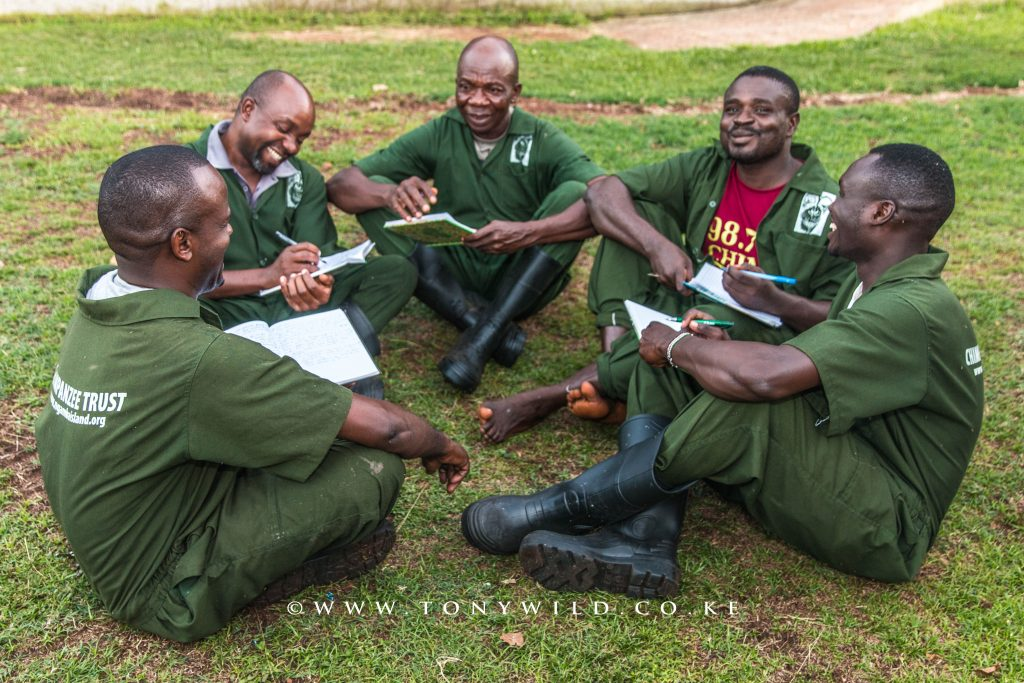 Papa with other care givers updating the chimps daily diaries